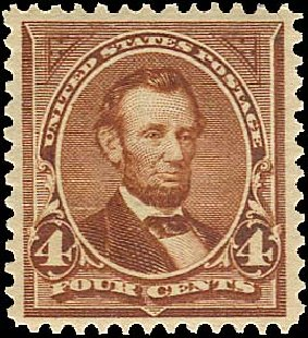 Values of US Stamp Scott Cat. 280 - 1898 4c Lincoln. Regency-Superior, Aug 2015, Sale 112, Lot 581