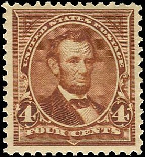 Value of US Stamps Scott Cat. # 280 - 4c 1898 Lincoln. Regency-Superior, Aug 2015, Sale 112, Lot 582