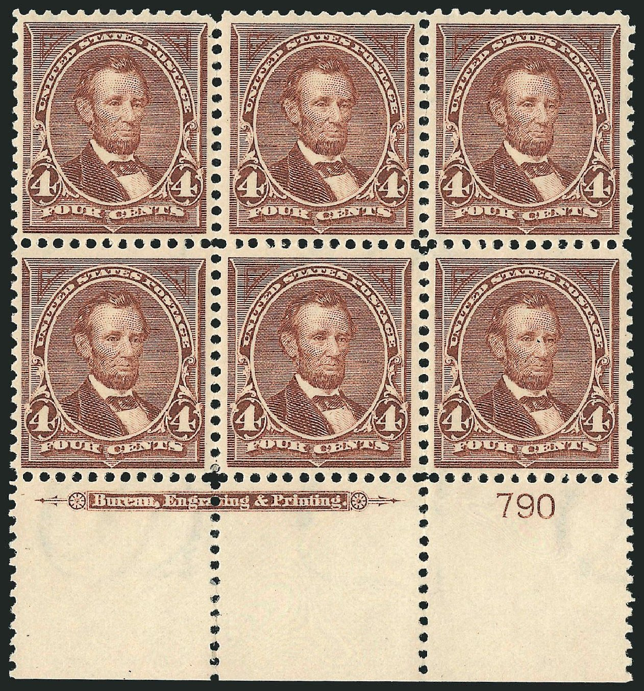 Prices of US Stamps Scott Cat. # 280 - 1898 4c Lincoln. Robert Siegel Auction Galleries, Nov 2014, Sale 1084, Lot 3646