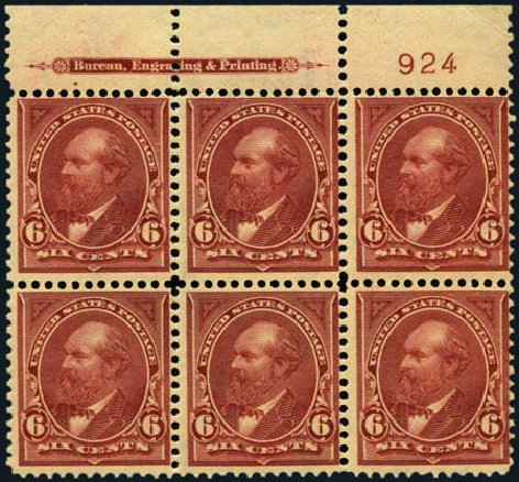 Cost of US Stamp Scott Catalog #282 - 6c 1898 Garfield. Harmer-Schau Auction Galleries, Jan 2013, Sale 96, Lot 520