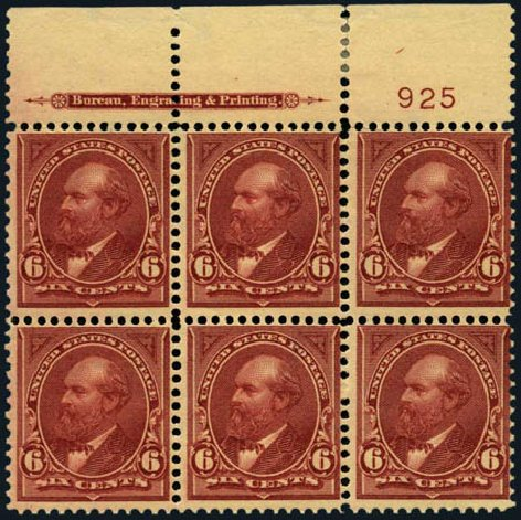 Value of US Stamp Scott # 282: 1898 6c Garfield. Harmer-Schau Auction Galleries, Jan 2013, Sale 96, Lot 521