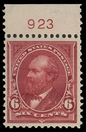 US Stamps Value Scott Cat. # 282 - 6c 1898 Garfield. Daniel Kelleher Auctions, Oct 2012, Sale 632, Lot 1194