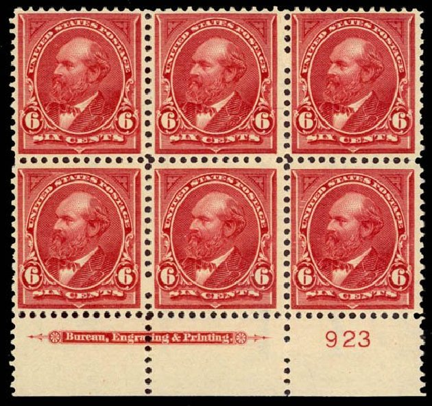 US Stamps Price Scott Catalogue 282 - 6c 1898 Garfield. Daniel Kelleher Auctions, Sep 2013, Sale 639, Lot 3374