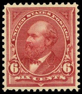 Value of US Stamp Scott Catalogue 282: 6c 1898 Garfield. Daniel Kelleher Auctions, Sep 2014, Sale 655, Lot 354