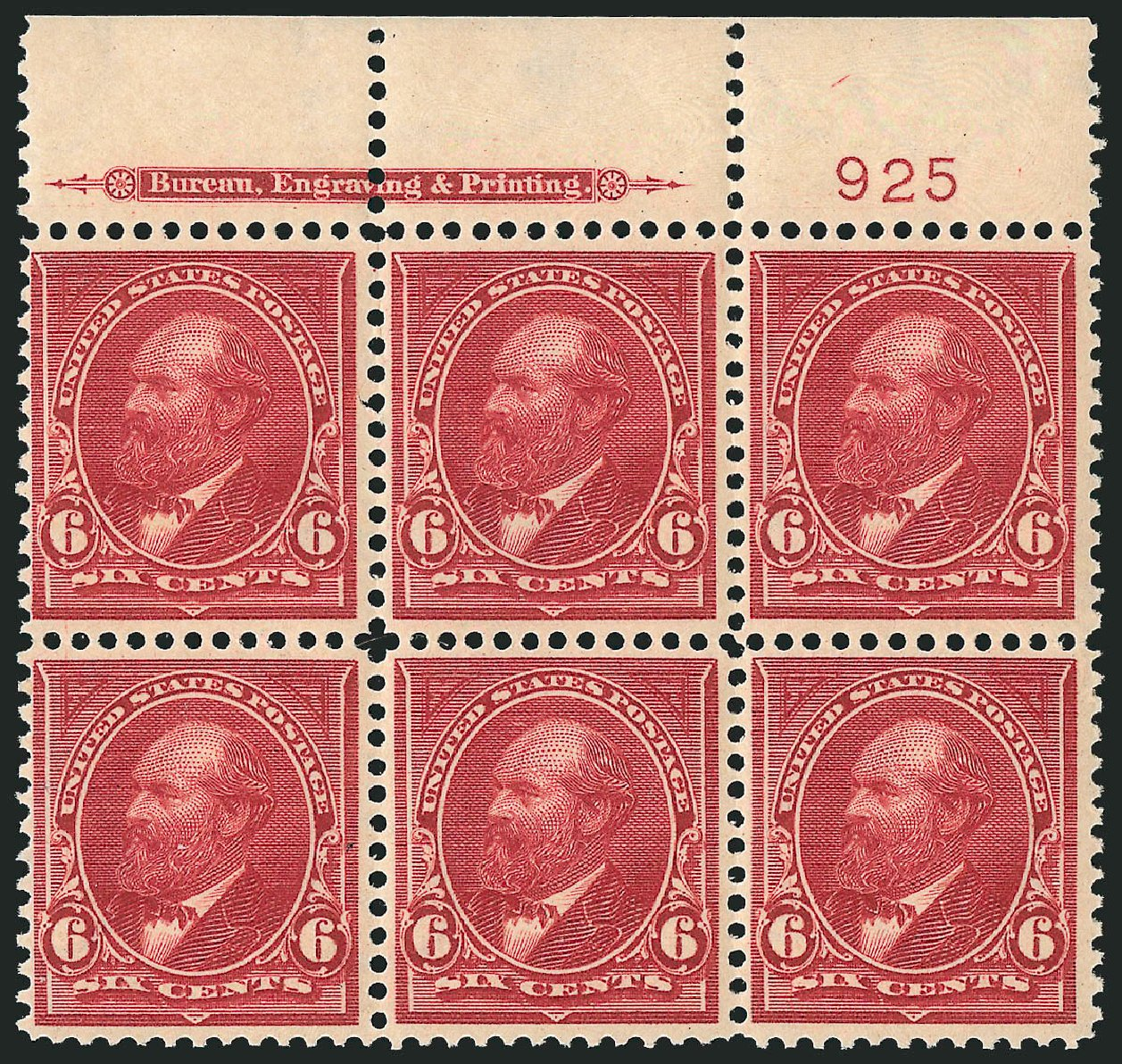 US Stamp Prices Scott Catalog 282 - 6c 1898 Garfield. Robert Siegel Auction Galleries, Apr 2015, Sale 1096, Lot 494