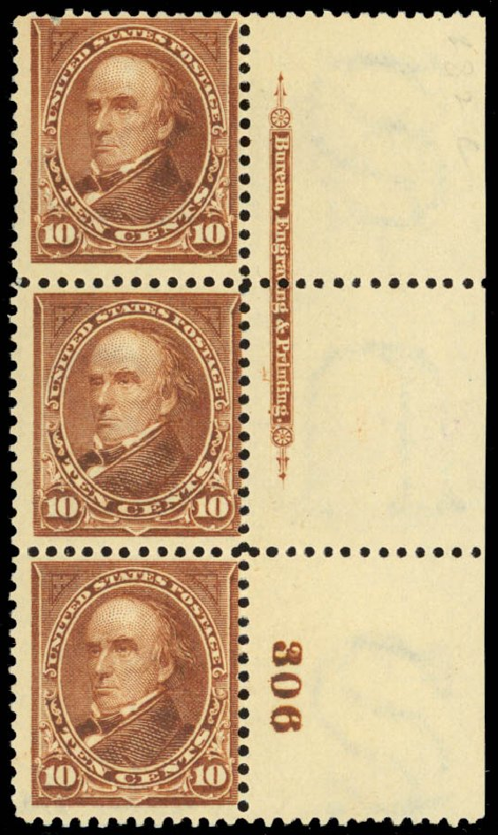 US Stamps Price Scott # 282C: 10c 1898 Webster. Daniel Kelleher Auctions, Jan 2015, Sale 663, Lot 1557
