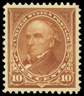 Value of US Stamp Scott Catalogue #282C: 10c 1898 Webster. Daniel Kelleher Auctions, May 2014, Sale 653, Lot 2195
