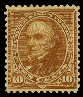 US Stamp Values Scott # 283: 1898 10c Webster. Daniel Kelleher Auctions, May 2015, Sale 669, Lot 2807