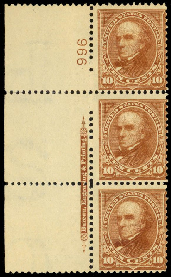US Stamp Prices Scott #283: 10c 1898 Webster. Daniel Kelleher Auctions, Jan 2015, Sale 663, Lot 1558