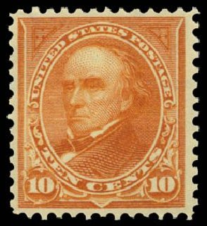 US Stamps Values Scott Catalog # 283: 10c 1898 Webster. Daniel Kelleher Auctions, Dec 2014, Sale 661, Lot 250