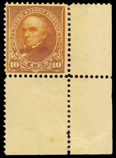 Prices of US Stamp Scott Catalog 283: 10c 1898 Webster. Daniel Kelleher Auctions, Aug 2015, Sale 672, Lot 2566