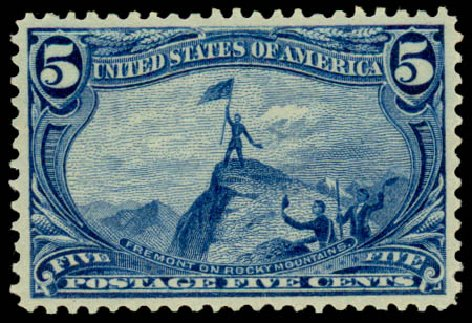 Cost of US Stamp Scott Cat. #288 - 5c 1898 Trans Mississippi Exposition. Daniel Kelleher Auctions, Aug 2015, Sale 672, Lot 2569