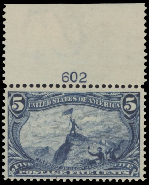 US Stamp Values Scott 288: 5c 1898 Trans Mississippi Exposition. Daniel Kelleher Auctions, Aug 2015, Sale 672, Lot 2570