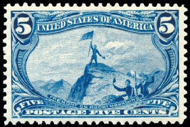 US Stamp Values Scott Catalog 288 - 5c 1898 Trans Mississippi Exposition. Schuyler J. Rumsey Philatelic Auctions, Apr 2015, Sale 60, Lot 2285