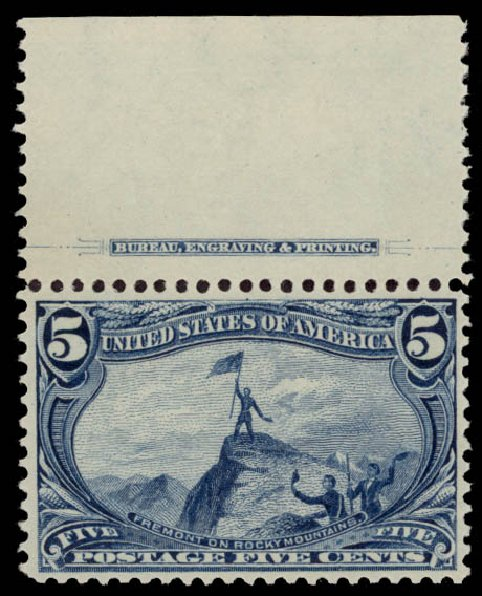 US Stamps Prices Scott Catalog 288: 1898 5c Trans Mississippi Exposition. Daniel Kelleher Auctions, May 2015, Sale 669, Lot 2816
