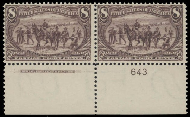 US Stamp Values Scott Cat. #289: 1898 8c Trans Mississippi Exposition. Daniel Kelleher Auctions, Aug 2015, Sale 672, Lot 2571