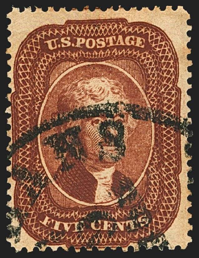 US Stamp Prices Scott Catalogue #28A - 5c 1858 Jefferson. Robert Siegel Auction Galleries, Jul 2015, Sale 1107, Lot 87