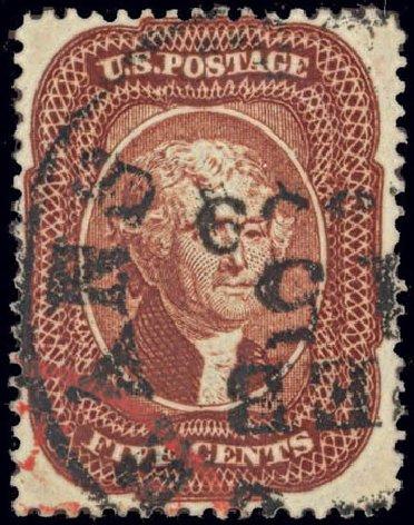 US Stamps Value Scott Cat. # 28A - 5c 1858 Jefferson. Daniel Kelleher Auctions, Feb 2013, Sale 634, Lot 30