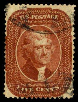 Price of US Stamps Scott Cat. # 28A: 1858 5c Jefferson. Daniel Kelleher Auctions, Apr 2013, Sale 636, Lot 75