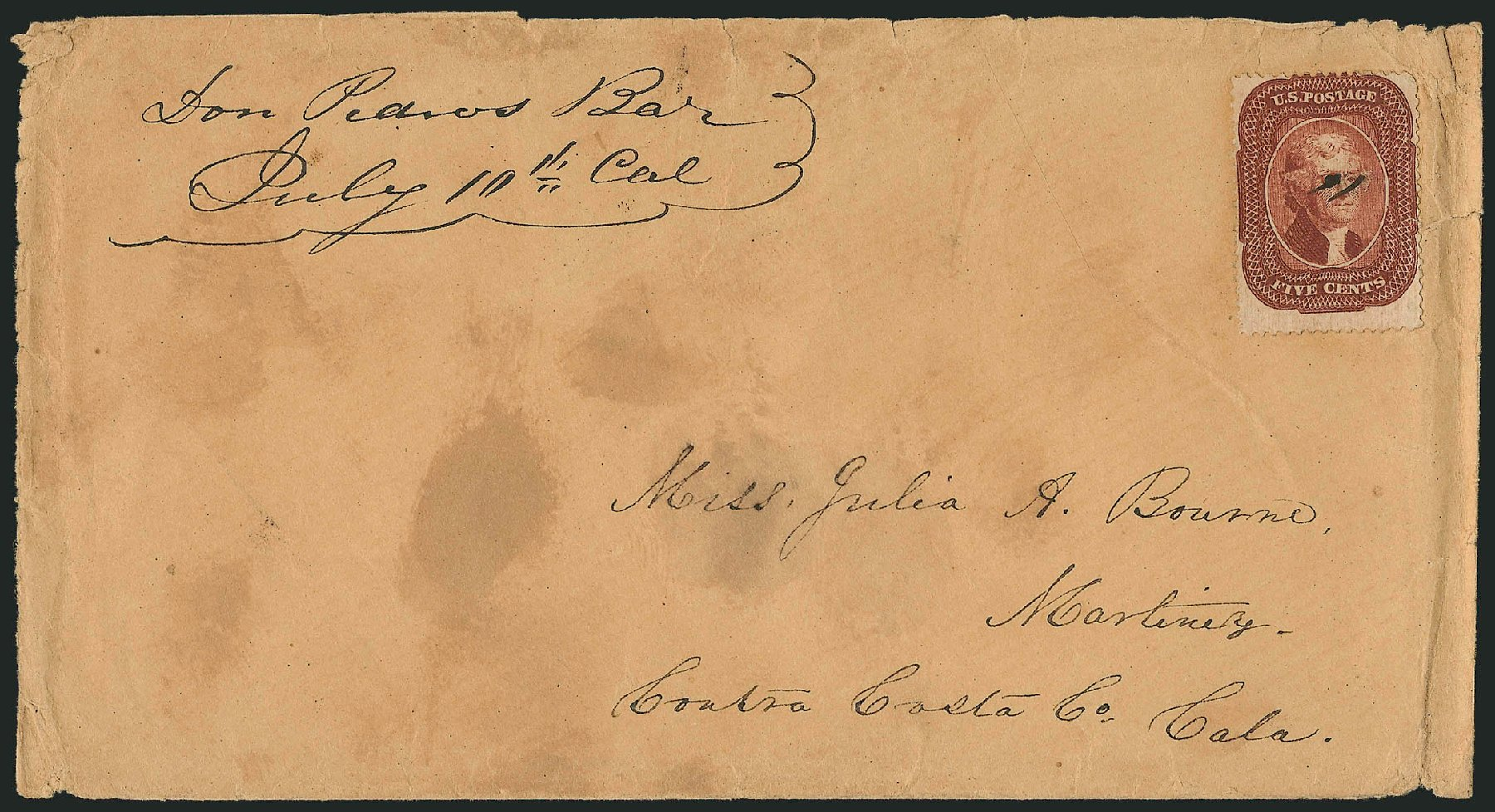Costs of US Stamp Scott Cat. #28A: 5c 1858 Jefferson. Robert Siegel Auction Galleries, Nov 2014, Sale 1084, Lot 3133