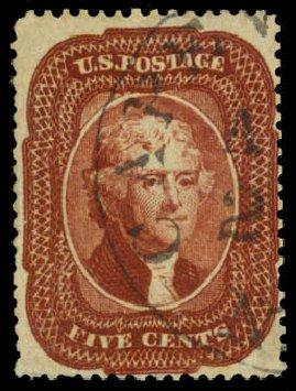Costs of US Stamp Scott Catalogue # 28A - 1858 5c Jefferson. Daniel Kelleher Auctions, Apr 2013, Sale 636, Lot 76