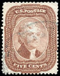 US Stamp Values Scott Cat. # 29: 5c 1859 Jefferson. Schuyler J. Rumsey Philatelic Auctions, Apr 2015, Sale 60, Lot 1980
