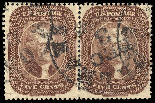 Price of US Stamp Scott Catalogue # 29: 1859 5c Jefferson. Cherrystone Auctions, Jul 2015, Sale 201507, Lot 21