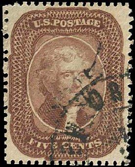 Prices of US Stamps Scott Cat. #29 - 1859 5c Jefferson. Regency-Superior, Nov 2014, Sale 108, Lot 104