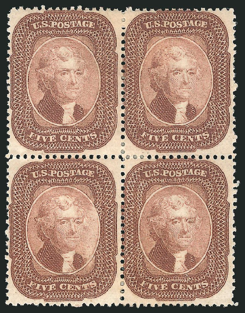 Price of US Stamp Scott Catalog 29: 5c 1859 Jefferson. Robert Siegel Auction Galleries, Apr 2015, Sale 1096, Lot 65