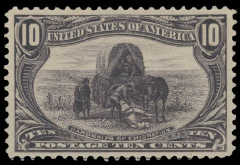 Values of US Stamps Scott # 290: 1898 10c Trans Mississippi Exposition. Daniel Kelleher Auctions, Aug 2015, Sale 672, Lot 2572
