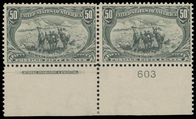 Values of US Stamp Scott #291: 1898 50c Trans Mississippi Exposition. Daniel Kelleher Auctions, Aug 2015, Sale 672, Lot 2574