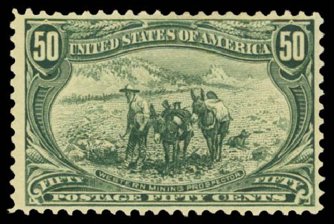 US Stamp Values Scott Cat. 291 - 50c 1898 Trans Mississippi Exposition. Daniel Kelleher Auctions, Aug 2015, Sale 672, Lot 2573