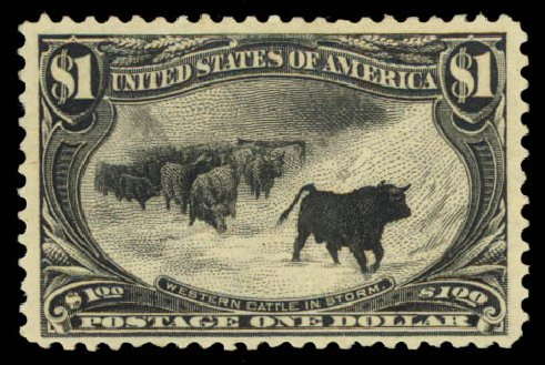 Costs of US Stamp Scott # 292 - 1898 US$1.00 Trans Mississippi Exposition. Daniel Kelleher Auctions, Aug 2015, Sale 672, Lot 2580