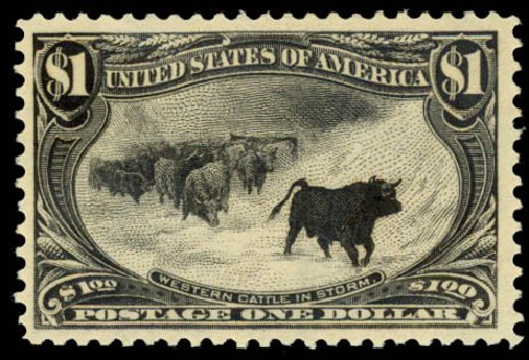 Price of US Stamp Scott Cat. #292: US$1.00 1898 Trans Mississippi Exposition. Daniel Kelleher Auctions, Aug 2015, Sale 672, Lot 2581