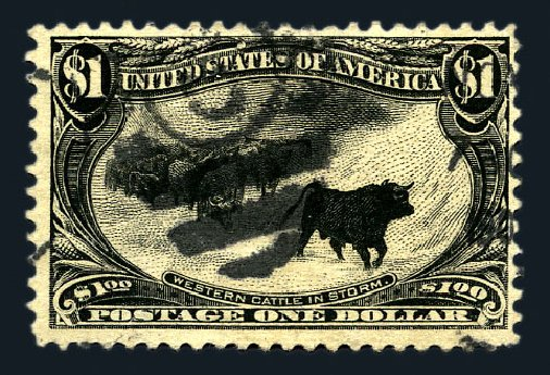 US Stamp Values Scott Cat. # 292 - US$1.00 1898 Trans Mississippi Exposition. Harmer-Schau Auction Galleries, Aug 2015, Sale 106, Lot 1716