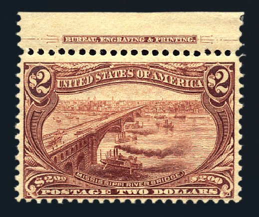 Values of US Stamps Scott Cat. 293: US$2.00 1898 Trans Mississippi Exposition. Harmer-Schau Auction Galleries, Aug 2015, Sale 106, Lot 1718