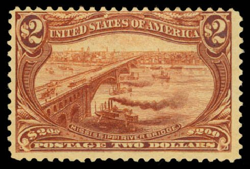 US Stamp Value Scott # 293: 1898 US$2.00 Trans Mississippi Exposition. Daniel Kelleher Auctions, Aug 2015, Sale 672, Lot 2589