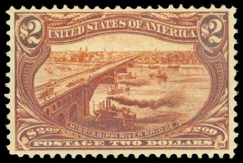 US Stamp Value Scott # 293 - US$2.00 1898 Trans Mississippi Exposition. Daniel Kelleher Auctions, Aug 2015, Sale 672, Lot 2590