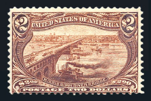 Values of US Stamps Scott Cat. #293: US$2.00 1898 Trans Mississippi Exposition. Harmer-Schau Auction Galleries, Aug 2015, Sale 106, Lot 1721