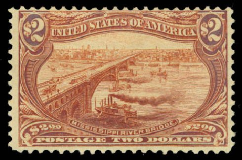 Cost of US Stamps Scott Catalogue # 293: US$2.00 1898 Trans Mississippi Exposition. Daniel Kelleher Auctions, Aug 2015, Sale 672, Lot 2591