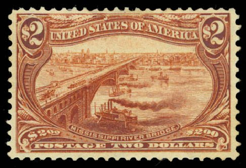 US Stamps Value Scott # 293 - 1898 US$2.00 Trans Mississippi Exposition. Daniel Kelleher Auctions, Aug 2015, Sale 672, Lot 2592