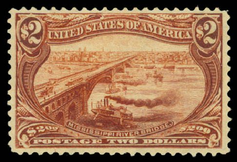 Price of US Stamps Scott Catalog #293 - 1898 US$2.00 Trans Mississippi Exposition. Daniel Kelleher Auctions, Aug 2015, Sale 672, Lot 2593