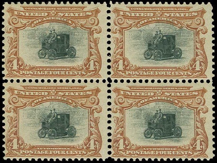 Values of US Stamps Scott Catalog # 296: 1901 4c Pan American Exposition. H.R. Harmer, Jun 2015, Sale 3007, Lot 3292