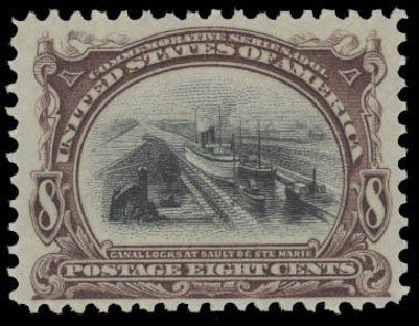 Cost of US Stamps Scott 298: 8c 1901 Pan American Exposition. Daniel Kelleher Auctions, Aug 2015, Sale 672, Lot 2601