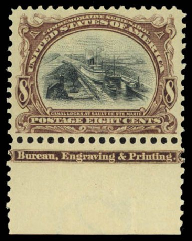 Values of US Stamp Scott Cat. 298 - 8c 1901 Pan American Exposition. Daniel Kelleher Auctions, May 2015, Sale 669, Lot 2842
