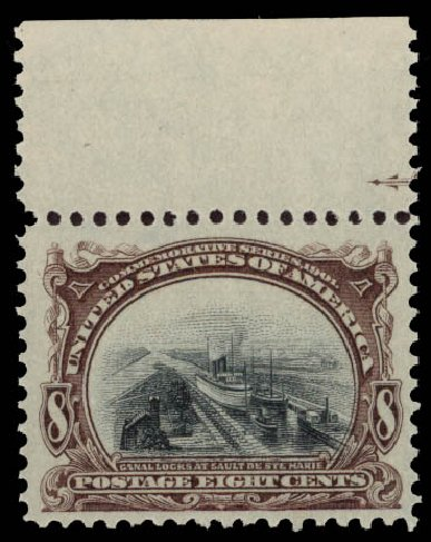 US Stamps Value Scott Cat. 298 - 8c 1901 Pan American Exposition. Daniel Kelleher Auctions, May 2015, Sale 669, Lot 2843