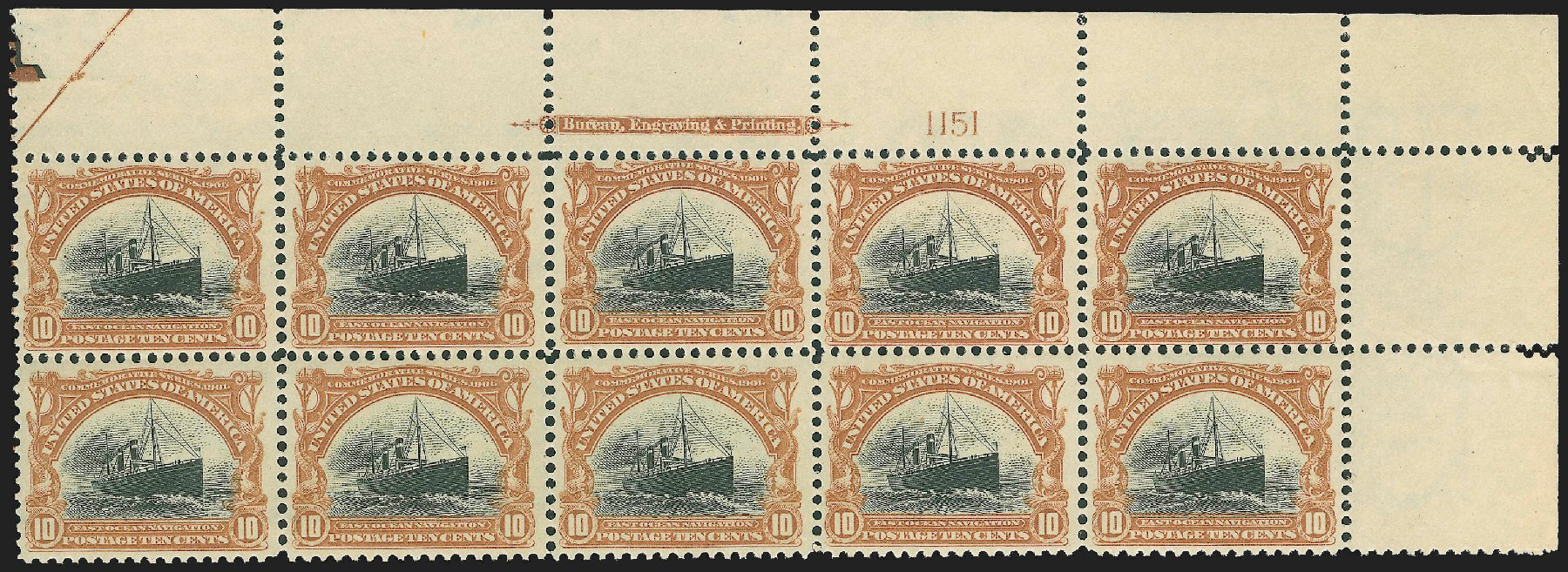 US Stamp Price Scott 299 - 10c 1901 Pan American Exposition. Robert Siegel Auction Galleries, Jul 2015, Sale 1107, Lot 407