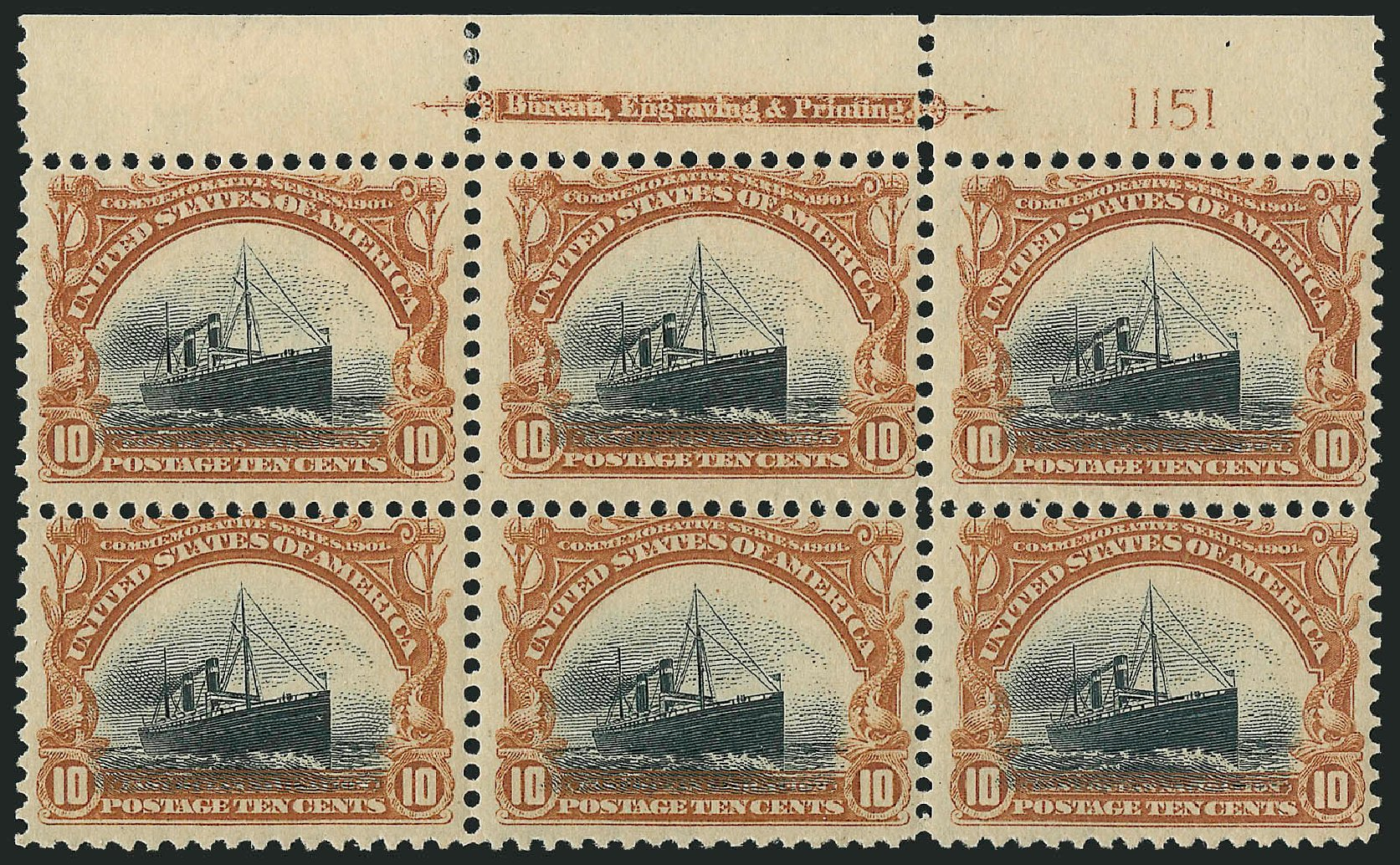 Values of US Stamps Scott 299: 1901 10c Pan American Exposition. Robert Siegel Auction Galleries, Jun 2015, Sale 1100, Lot 75