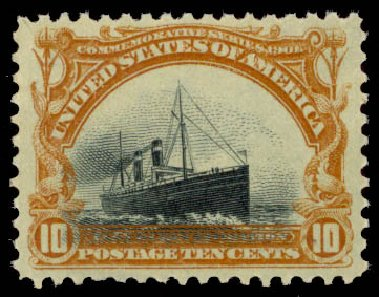 US Stamps Value Scott # 299: 1901 10c Pan American Exposition. Daniel Kelleher Auctions, May 2015, Sale 669, Lot 2846