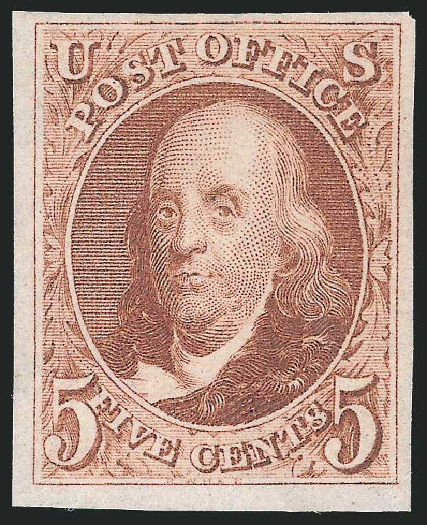 Values of US Stamp Scott Catalog #3 - 1875 5c Franklin. Robert Siegel Auction Galleries, Jul 2015, Sale 1107, Lot 49